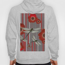 AWESOME DRAGONFLIES & RED POPPY FLOWERS ART Hoody