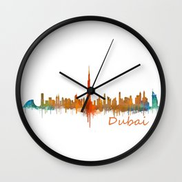 Dubai, emirates, City Cityscape Skyline watercolor art v2 Wall Clock