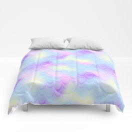 Pastel Blue Mermaid Tail Abstraction. Magic Fish Scale Pattern Comforters