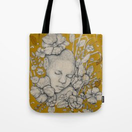 """Guardians"" - Surreal Floral Portrait Illustration Tote Bag"