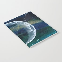 Crescent Moon Mixed Media Painting Notebook
