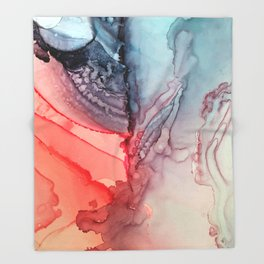 Undertow Meets Lava- Alcohol Ink Painting Throw Blanket