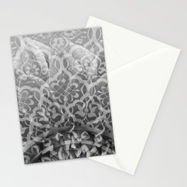 Foral Mosaic Pattern black & white Stationery Cards