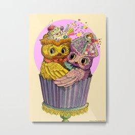 Happy Birthday Cupcake Owls Suprise Metal Print