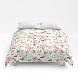 Sunny Floral Pastel Pink Watercolor Flower Pattern Comforters