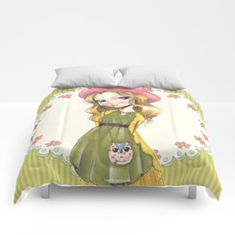JAPANESSE DOLL ILLUSTRATION BY ALBERTO RODRÍGUEZ Comforters