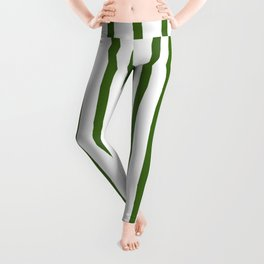 Simply Drawn Vertical Stripes in Jungle Green Leggings