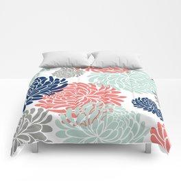 Floral, Chrysanthemums, Coral, Pink, Aqua, Navy, Blue Comforters
