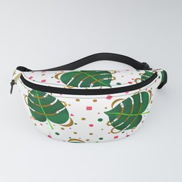 Monstera Leaves with Gold Pink and Green Geometric Confetti Fanny Pack