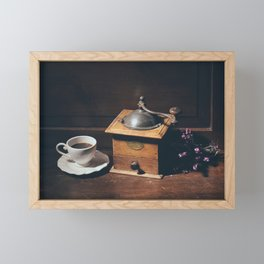 Vintage still life with coffee grinder Framed Mini Art Print