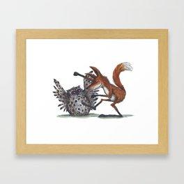 Owl & Fox dancing Framed Art Print