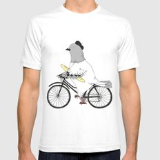 Parisian Pigeon White Mens Fitted Tee SMALL