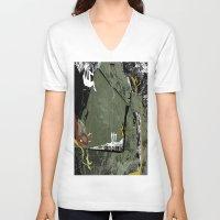 climbing V-neck T-shirts featuring Rock Climbing by Robin Curtiss