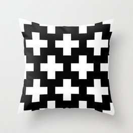 Swiss Cross W&B Throw Pillow