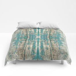 Rustic Wood Turquoise Weathered Paint Wood Grain Comforters
