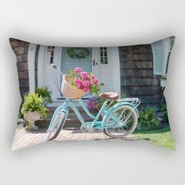 Retro Turquoise Bike with Roses Rectangular Pillow