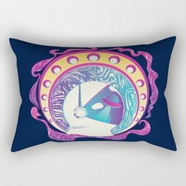 Modern style illustration of spaceman helmet with planet and ufo Rectangular Pillow