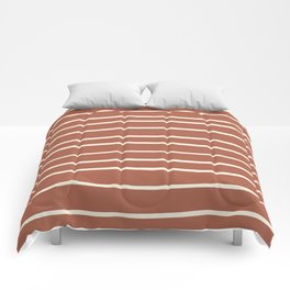 Dover White 33-6 Hand Drawn Horizontal Lines on Red River 4-21 Comforters