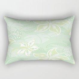 Green Watercolor Hibiscus Jungle Print Rectangular Pillow