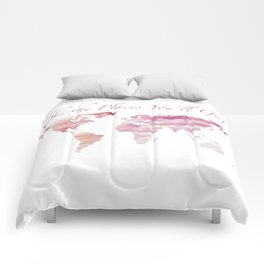 Cotton Candy Sky World Map - Oh, the Places You'll Go! Comforters