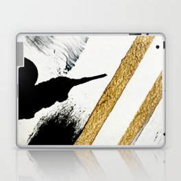 Armor [8]: a minimal abstract piece in black white and gold by Alyssa Hamilton Art Laptop & iPad Skin