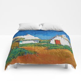 Three white cottages in Saintes-Maries by Vincent van Gogh Comforters