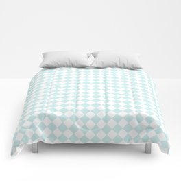 Small Diamonds - White and Light Cyan Comforters