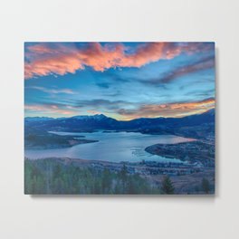 Lakeside Sunset // Mile High Rocky Mountain Orange and Blue Sky Metal Print
