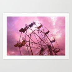 Dark Pink Ferris Wheel Art Print