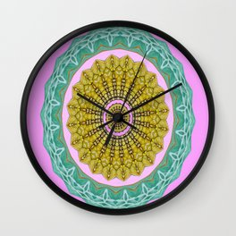 Lovely Healing Mandala  in Brilliant Colors: Pink, Green, Gray, Gold, and Wheat Wall Clock