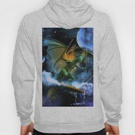 Funny surfing dragon Hoody