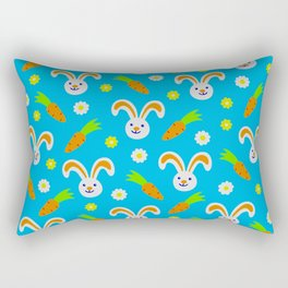 Easter Bunny and Carrots Pattern Rectangular Pillow