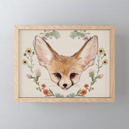 Fennec Fox Cub in Desert Wreath Framed Mini Art Print