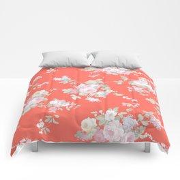 Modern living coral blush pink elegant floral Comforters