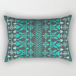 Norwegian Pattern – Aqua on Charcoal Rectangular Pillow