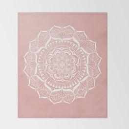 White Flower Mandala on Rose Gold Throw Blanket