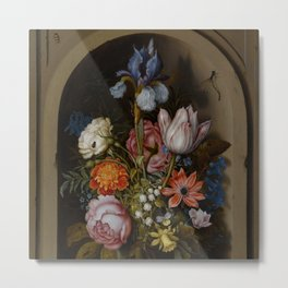 "Ambrosius Bosschaert the Elder ""A still life of flowers in a glass beaker"" Metal Print"