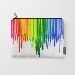 Rainbow Paint Drops on White Carry-All Pouch