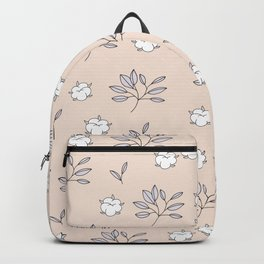Autumn field lovers cotton balls and leaves botanical garden blush pale peach pink Backpack