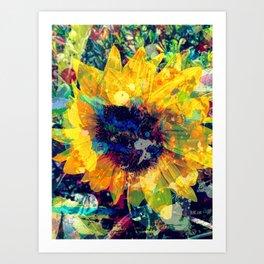 Sunflower Batik Art Print