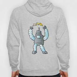 cartoon blue eletric robot Hoody