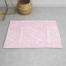 Sketchy Abstract (Pink & White Pattern) Rug