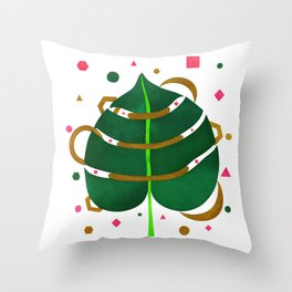 Monstera Leaves with Gold Pink and Green Geometric Confetti Throw Pillow
