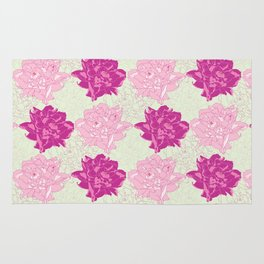 Peony Illustrated Pattern In Dreamy Pinks and Mint Green Rug
