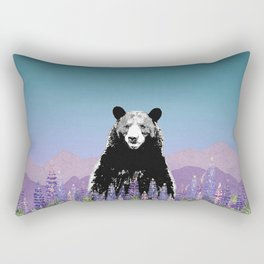 Black Bear in Lupine Rectangular Pillow