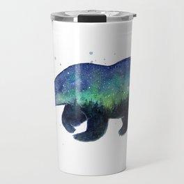 Polar Bear Silhouette with Northern Lights Galaxy Travel Mug