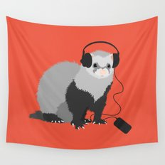 Music Loving Ferret Wall Tapestry
