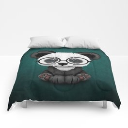 Cute Panda Bear Cub with Eye Glasses on Teal Blue Comforters
