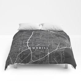 Mobile Map, Alabama USA - Charcoal Portrait Comforters