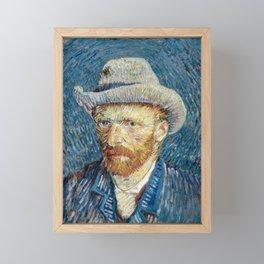 Self portrait with grey felt hat by Vincent van Gogh, 1887 Framed Mini Art Print